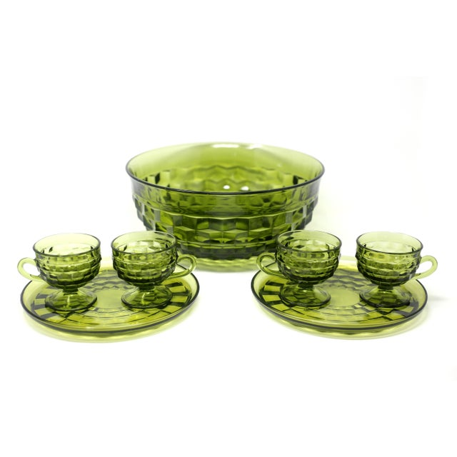 1970s 1970's Colony Whitehall Collection Green Punch Bowl, Cups and Plates - Set of 7 For Sale - Image 5 of 11