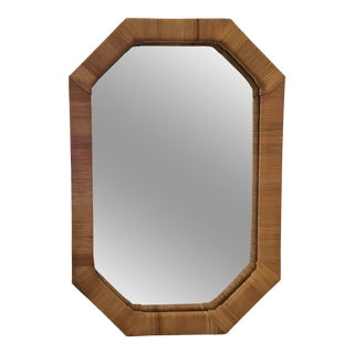 Bielecky Brothers Octagonal Rattan Wall Mirror For Sale