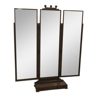 Jules Buoy Art Deco Wrought Iron Trifold Floor Standing Mirror