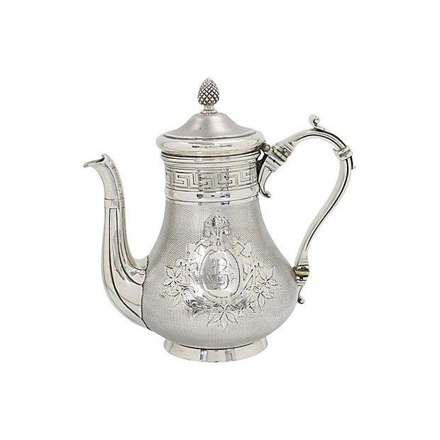 """Antique French Christofle coffee pot. Highly decorated with greek key pattern and monogram """"BE"""". Excellent quality as..."""