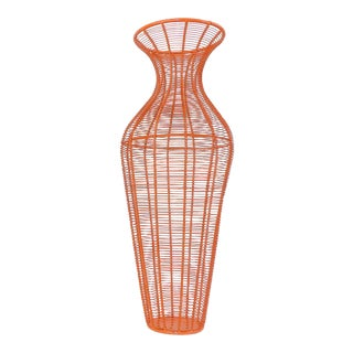 Tall Mid-Century Modern Orange Metal Wire Vase Dry Flower Display Stand