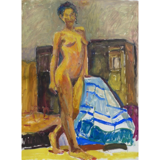 Paper Figurative Painting, Standing Nude Portrait For Sale - Image 7 of 7