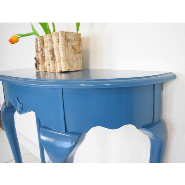 Queen Anne Queen Anne Half-Moon Shape Blue Console Table For Sale - Image 3 of 9