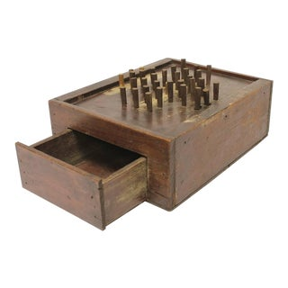 Early 20th C. Antique Folk Art Aggravation Wooden Box Peg Board Game For Sale