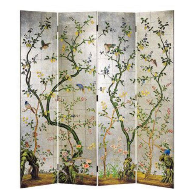Chinoiserie Decorative Crafts Hand Painted Silver Screen For Sale - Image 10 of 10