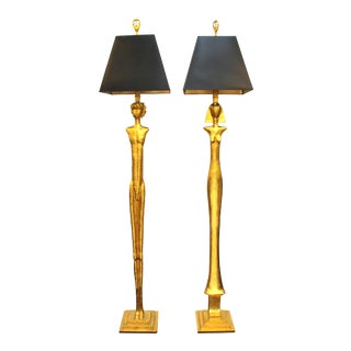 Modern Giacometti Style Figural Floor Lamps in Gilt Bronze - a Pair For Sale