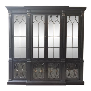 Drexel French Black Wood China Hutch For Sale