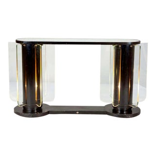 Art Deco Console With Light Up Supports and Glass Inserts
