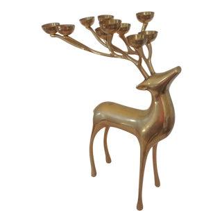 Brass Reindeer Candleholder
