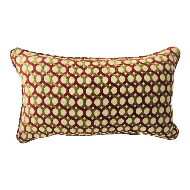 Burgundy & Gold Chenille Accent Pillow Cover For Sale