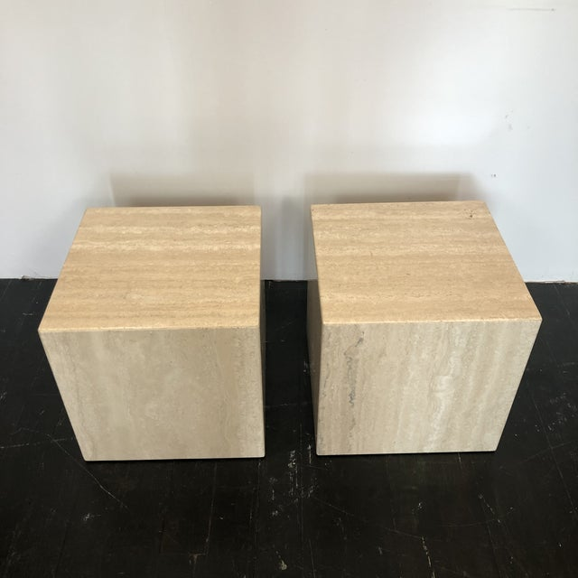 Wonderful pair of Italian marble cube side tables byArtedi. Can be used as individual side tables or side by side to make...