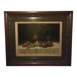 Vintage Oil on Canvas Still Life Painting Signed For Sale