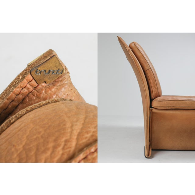 Camel Thick Camel Leather Club Chairs by Titiana Ammanati & Giampiero Vitelli for Brunati - 1970s For Sale - Image 8 of 12