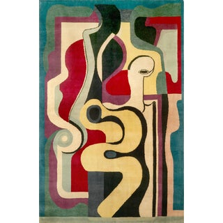Hand Knotted Artistic Natural Silk Rug After Auguste Herbin, Design N.66 For Sale