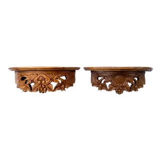 20th Century Handmade Floral Leaf Pattern Wood Wall Bracket Shelves - a Pair For Sale
