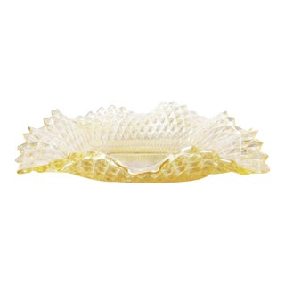 Vintage Yellow Gold Hobnail Square Glass Candy Dish For Sale