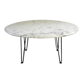 Vintage Mid-Century White Oval Marble Table For Sale