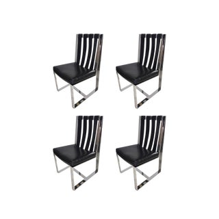 Milo Baughman for Thayer Coggin Chrome & Leather Chairs - Set of 4 For Sale