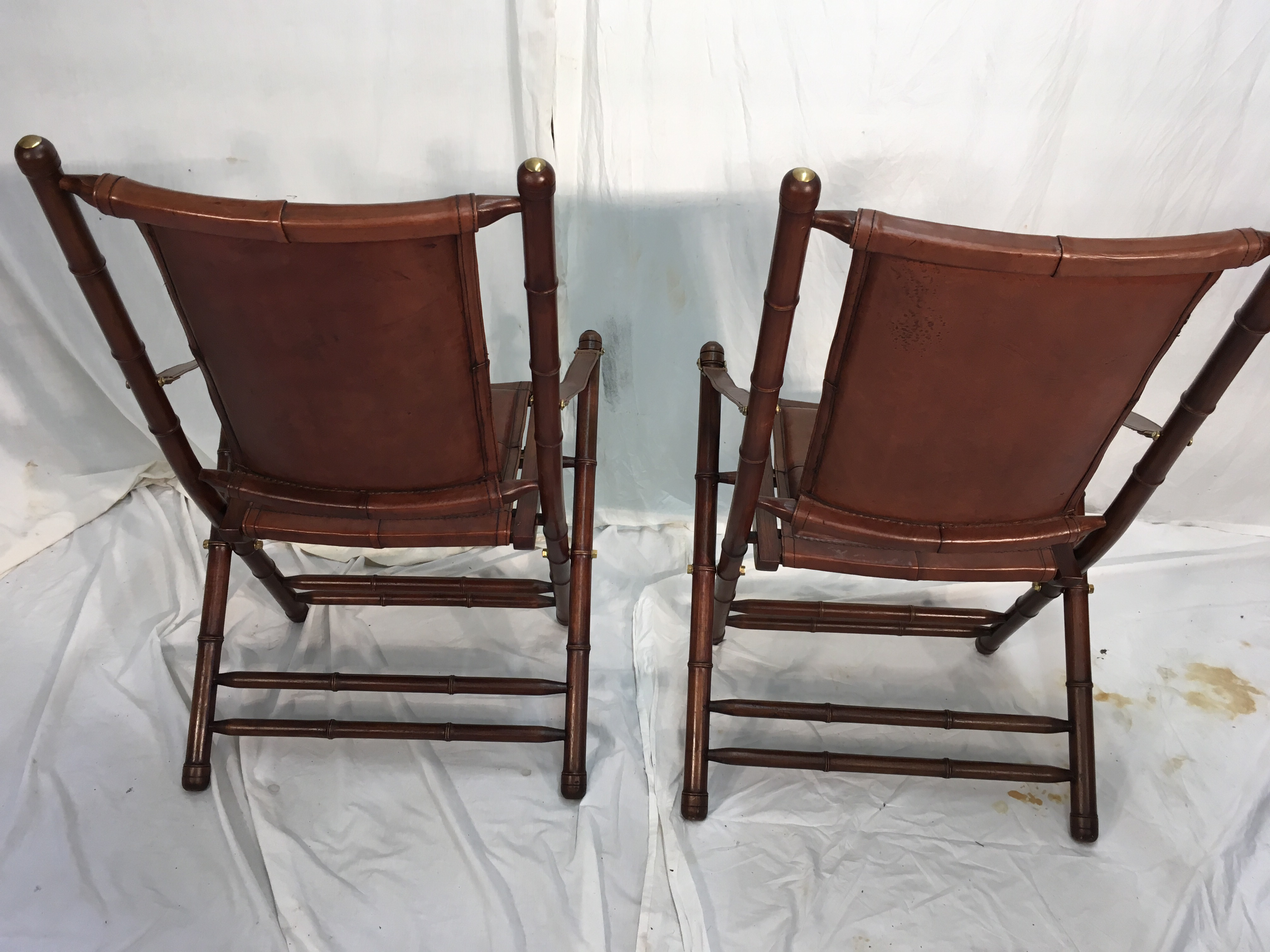 Leather U0026 Mahogany Campaign Chairs   A Pair   Image 6 ...