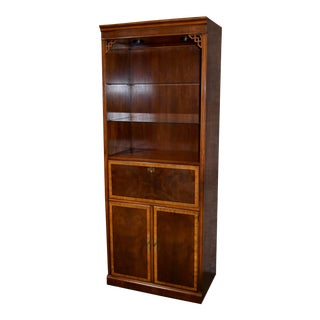 1980s Drexel Inlaid Mahogany Chinese Chippendale Cabinet For Sale