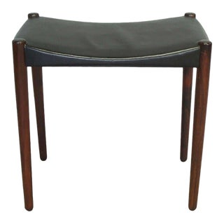 Rosewood and Leather Stool by Ejner Larsen and A. Bender Madsen For Sale
