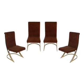 Mid-Century Brass Side Chairs- Set of 4 For Sale