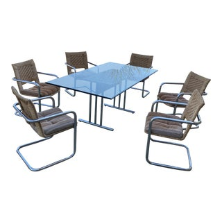 1970s Chrome Cantilevered Woven Chairs With Glass Table Top** - 7 Pieces For Sale