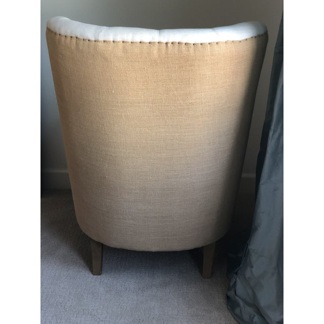 Wood Tufted Arm Chair For Sale - Image 7 of 9