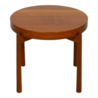 Teak Round Tray Table Made in Sweden For Sale