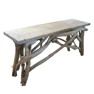 Folk Art Bleached Driftwood Console Table For Sale