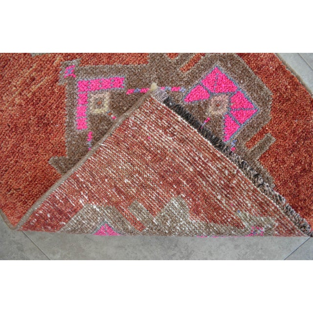 Hand Knotted Low Pile Rug Turkish Rug Door Mat Entryway Mat Bath Rug - 18'' X 35'' For Sale - Image 4 of 5