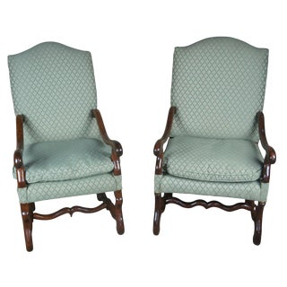 19th Century Antique Old World Tuscan Armchairs-a Pair For Sale