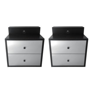 1970s CMI Silver and Black Nightstands - a Pair For Sale