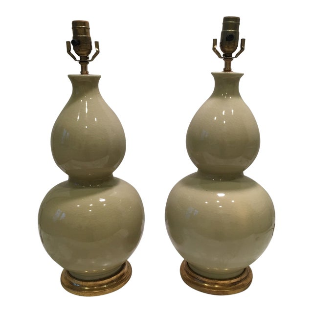 Soft Green Gourd Lamps - a Pair For Sale