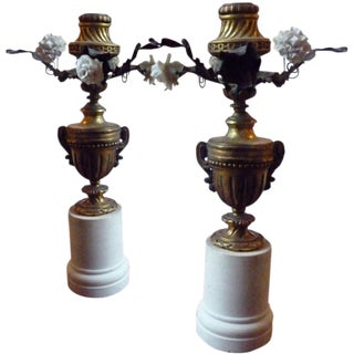 Pair of 19th Century Porcelain and Bronze Floral Candlesticks
