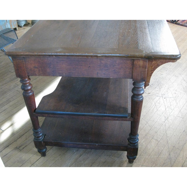 Country Antique 1940s Three Shelf Mercantile Table For Sale - Image 3 of 8