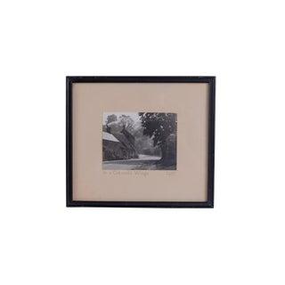 1930s Vintage Framed Cotswold Village Black & White Photograph For Sale