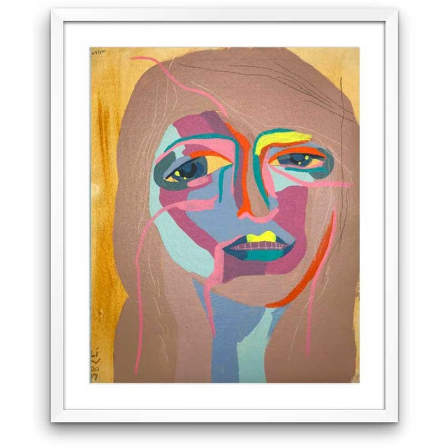This abstract portrait is by contemporary artist Linda Ward of Detroit. This portrait is #147 out of a series of 500...