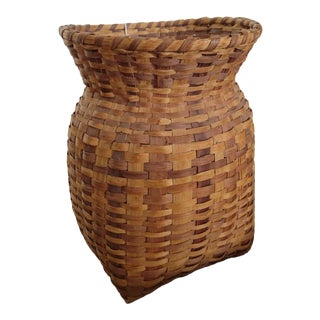 Mid 20th Century Handmade Appalachian Basket For Sale
