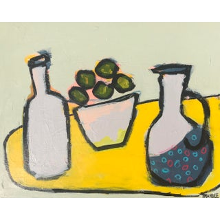 "Abstract Still Life ""Limes With Polka Dot Pitcher"" by Sarah Trundle For Sale"