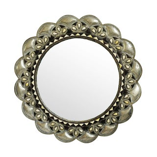 Scalloped Inlay Round Mirror For Sale