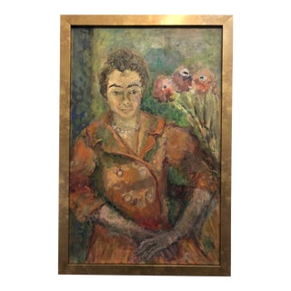 """Mid-Century Madame Matisse"" Portrait of a Woman, Oil Painting on Canvas For Sale"