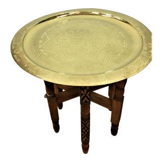 Moroccan Engraved Gold Tray Table For Sale