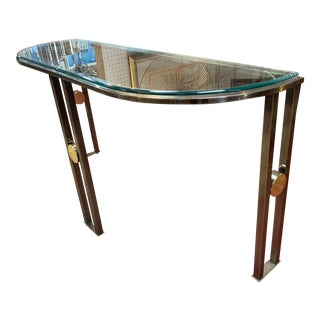 1970s Postmodern Chrome Demi-lune Console Table For Sale