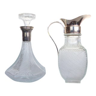 Ribbed Glass Decanter & Pitcher - A Pair For Sale