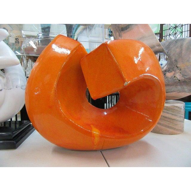 Modern Orange Stone Sculpture - Image 2 of 9
