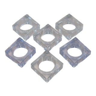 Mid-Century Square Lucite Napkin Rings - Set of 6 For Sale