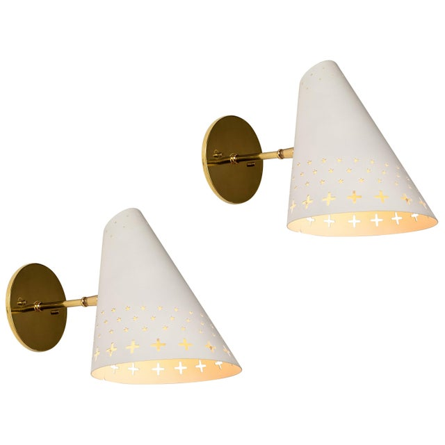 1950s Danish Perforated Sconces Attributed to Bent Karlby - a Pair For Sale - Image 13 of 13