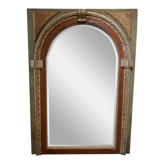 Antique Architectural Distressed Arched Leaning Mirror For Sale