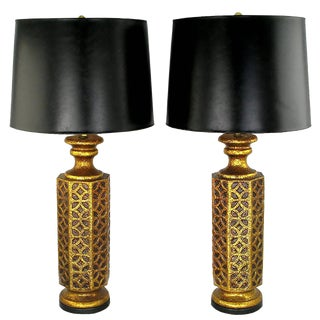 Pair of Moroccan-Style Gilt Arabesques Table Lamps For Sale